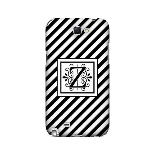 Vintage Vine Z On Black Slanted Stripes - Geeks Designer Line Monogram Series Hard Case for Samsung Galaxy Note 2