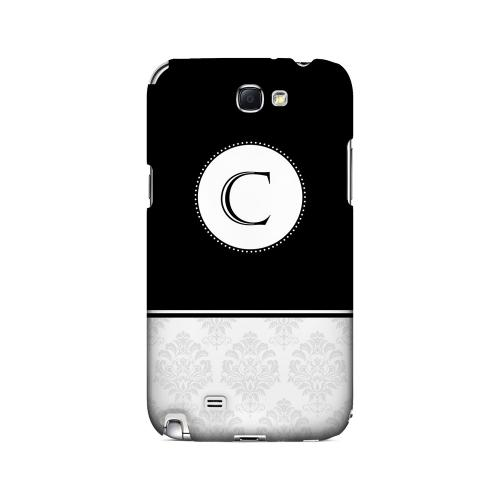 Black C w/ White Damask Design - Geeks Designer Line Monogram Series Hard Case for Samsung Galaxy Note 2