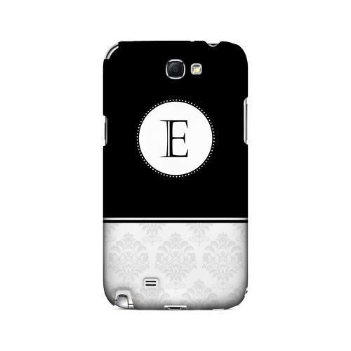 Black E w/ White Damask Design - Geeks Designer Line Monogram Series Hard Case for Samsung Galaxy Note 2