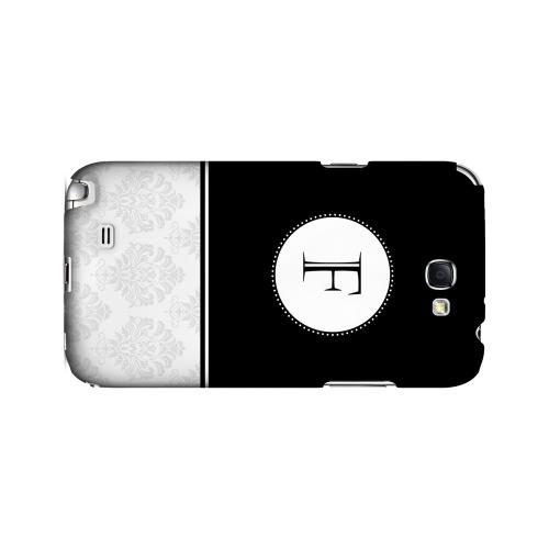 Black F w/ White Damask Design - Geeks Designer Line Monogram Series Hard Case for Samsung Galaxy Note 2
