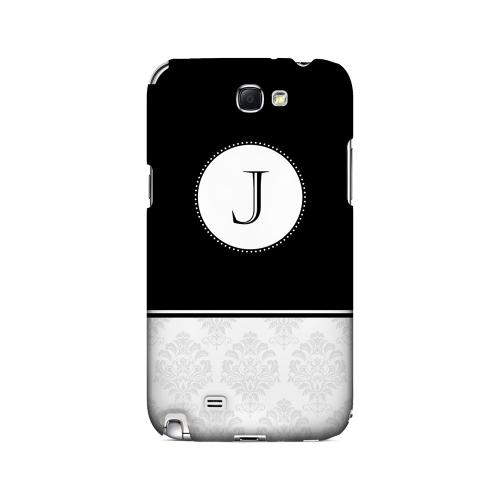 Black J w/ White Damask Design - Geeks Designer Line Monogram Series Hard Case for Samsung Galaxy Note 2