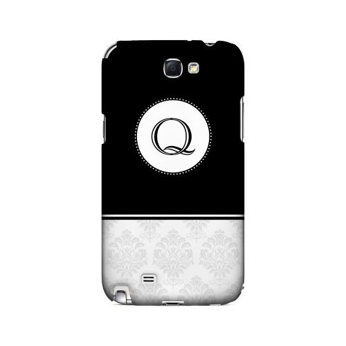 Black Q w/ White Damask Design - Geeks Designer Line Monogram Series Hard Case for Samsung Galaxy Note 2