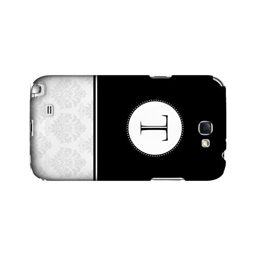 Black T w/ White Damask Design - Geeks Designer Line Monogram Series Hard Case for Samsung Galaxy Note 2