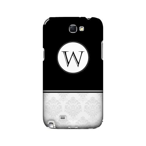 Black W w/ White Damask Design - Geeks Designer Line Monogram Series Hard Case for Samsung Galaxy Note 2