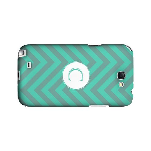 Seafoam Green C on Zig Zags - Geeks Designer Line Monogram Series Hard Case for Samsung Galaxy Note 2