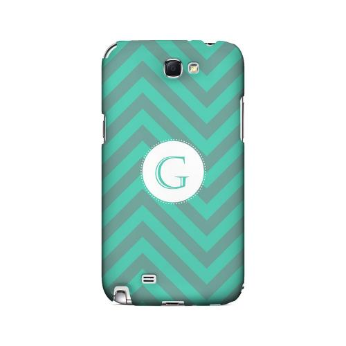 Seafoam Green G on Zig Zags - Geeks Designer Line Monogram Series Hard Case for Samsung Galaxy Note 2