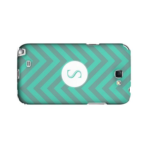 Seafoam Green S on Zig Zags - Geeks Designer Line Monogram Series Hard Case for Samsung Galaxy Note 2