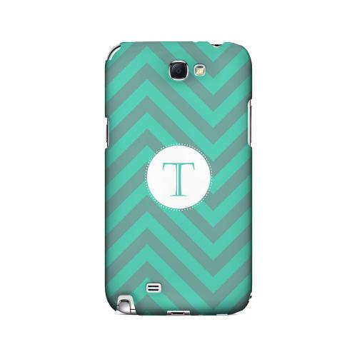 Seafoam Green T on Zig Zags - Geeks Designer Line Monogram Series Hard Case for Samsung Galaxy Note 2