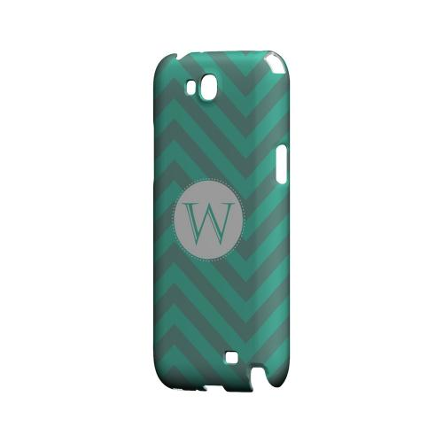 Seafoam Green W on Zig Zags - Geeks Designer Line Monogram Series Hard Case for Samsung Galaxy Note 2