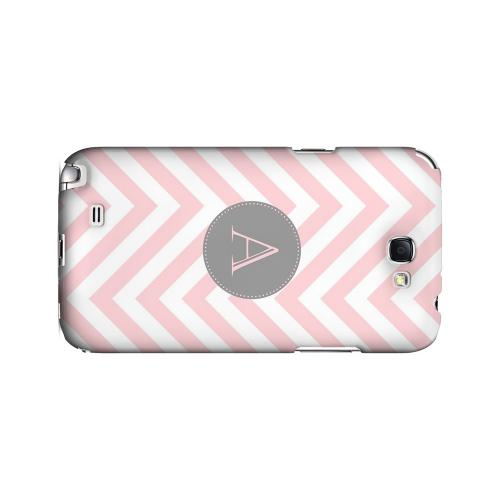 Gray Button A on Pale Pink Zig Zags - Geeks Designer Line Monogram Series Hard Case for Samsung Galaxy Note 2