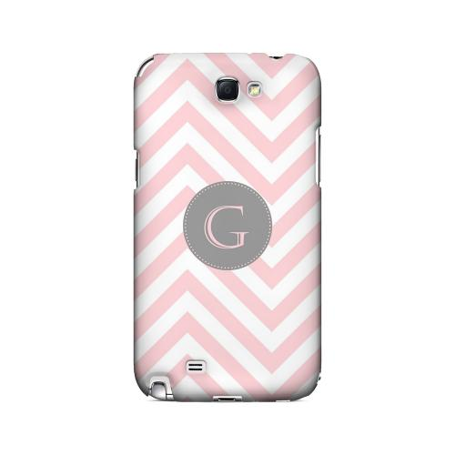 Gray Button G on Pale Pink Zig Zags - Geeks Designer Line Monogram Series Hard Case for Samsung Galaxy Note 2