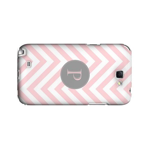 Gray Button P on Pale Pink Zig Zags - Geeks Designer Line Monogram Series Hard Case for Samsung Galaxy Note 2