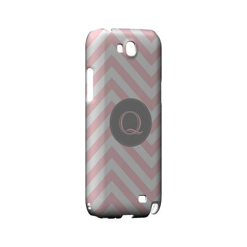 Gray Button Q on Pale Pink Zig Zags - Geeks Designer Line Monogram Series Hard Case for Samsung Galaxy Note 2