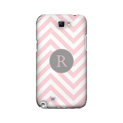 Gray Button R on Pale Pink Zig Zags - Geeks Designer Line Monogram Series Hard Case for Samsung Galaxy Note 2