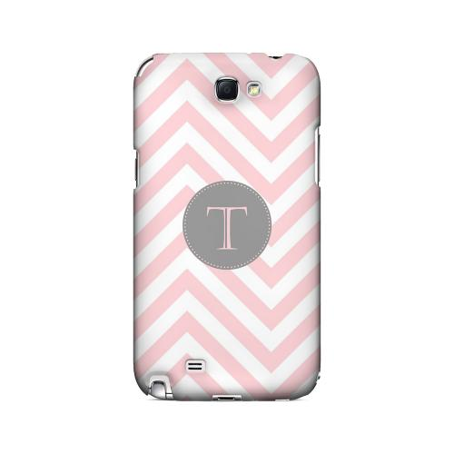 Gray Button T on Pale Pink Zig Zags - Geeks Designer Line Monogram Series Hard Case for Samsung Galaxy Note 2