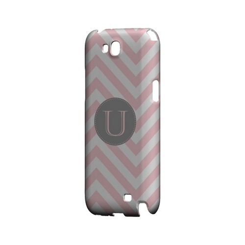 Gray Button U on Pale Pink Zig Zags - Geeks Designer Line Monogram Series Hard Case for Samsung Galaxy Note 2