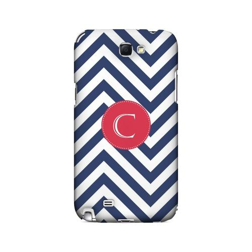 Cherry Button C on Navy Blue Zig Zags - Geeks Designer Line Monogram Series Hard Case for Samsung Galaxy Note 2