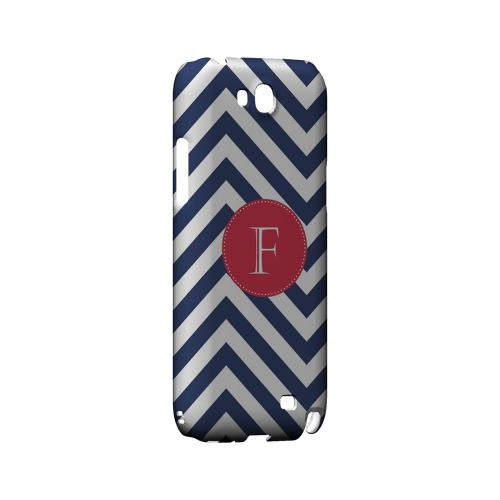 Cherry Button F on Navy Blue Zig Zags - Geeks Designer Line Monogram Series Hard Case for Samsung Galaxy Note 2
