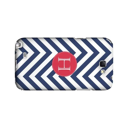 Cherry Button H on Navy Blue Zig Zags - Geeks Designer Line Monogram Series Hard Case for Samsung Galaxy Note 2