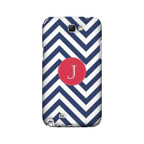 Cherry Button J on Navy Blue Zig Zags - Geeks Designer Line Monogram Series Hard Case for Samsung Galaxy Note 2