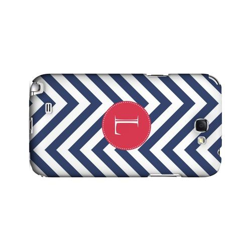 Cherry Button L on Navy Blue Zig Zags - Geeks Designer Line Monogram Series Hard Case for Samsung Galaxy Note 2