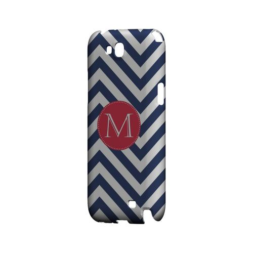 Cherry Button M on Navy Blue Zig Zags - Geeks Designer Line Monogram Series Hard Case for Samsung Galaxy Note 2