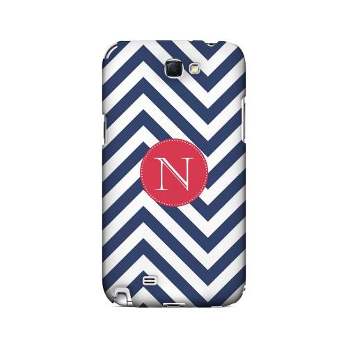 Cherry Button N on Navy Blue Zig Zags - Geeks Designer Line Monogram Series Hard Case for Samsung Galaxy Note 2