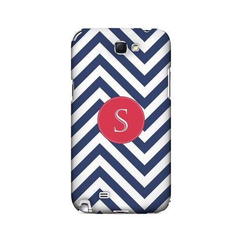 Cherry Button S on Navy Blue Zig Zags - Geeks Designer Line Monogram Series Hard Case for Samsung Galaxy Note 2