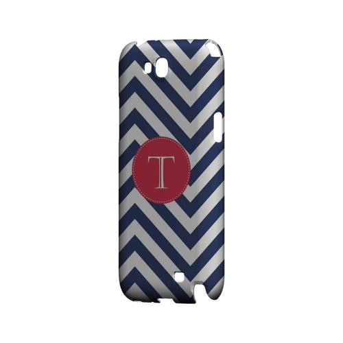 Cherry Button T on Navy Blue Zig Zags - Geeks Designer Line Monogram Series Hard Case for Samsung Galaxy Note 2