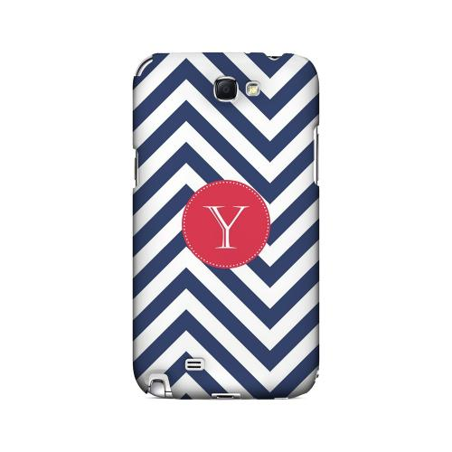 Cherry Button Y on Navy Blue Zig Zags - Geeks Designer Line Monogram Series Hard Case for Samsung Galaxy Note 2