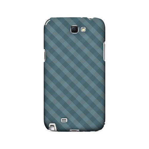 Blue/ Green/ White/ Gray Plaid - Geeks Designer Line Checker Series Hard Case for Samsung Galaxy Note 2