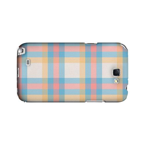 Blue/ Pink/ Orange Plaid Fabric - Geeks Designer Line Checker Series Hard Case for Samsung Galaxy Note 2