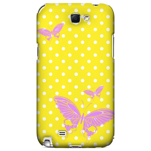 Pink Butterfly on White Polka Dots - Geeks Designer Line Spring Series Hard Case for Samsung Galaxy Note 2