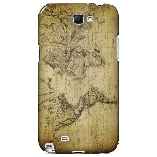 Vintage World Map Circa 1800's - Geeks Designer Line Map Series Hard Case for Samsung Galaxy Note 2