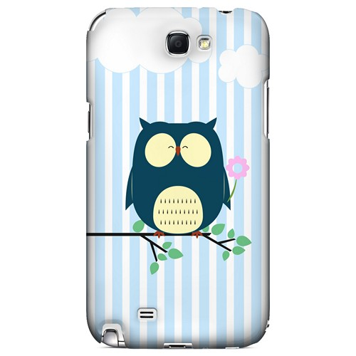 Fat Peaceful Owl on Tree Branch - Geeks Designer Line Owl Series Hard Case for Samsung Galaxy Note 2