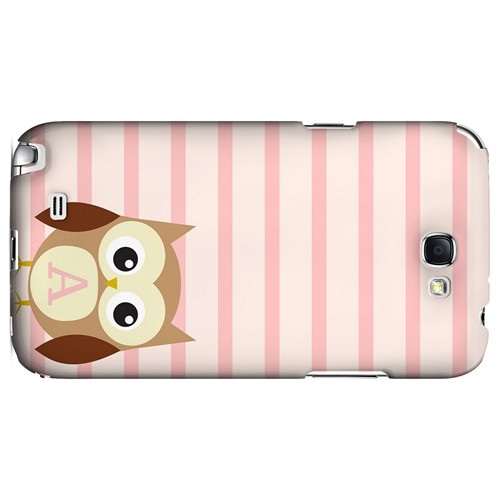Brown Owl Monogram A on Pink Stripes - Geeks Designer Line Owl Series Hard Case for Samsung Galaxy Note 2