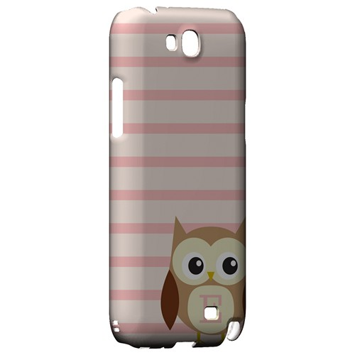 Brown Owl Monogram E on Pink Stripes - Geeks Designer Line Owl Series Hard Case for Samsung Galaxy Note 2