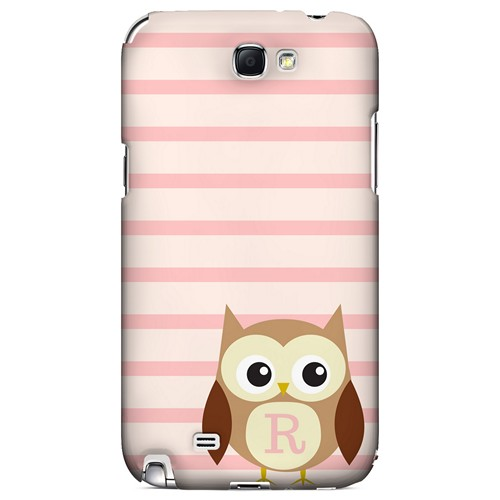 Brown Owl Monogram R on Pink Stripes - Geeks Designer Line Owl Series Hard Case for Samsung Galaxy Note 2