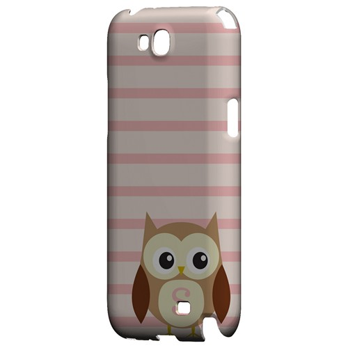 Brown Owl Monogram S on Pink Stripes - Geeks Designer Line Owl Series Hard Case for Samsung Galaxy Note 2