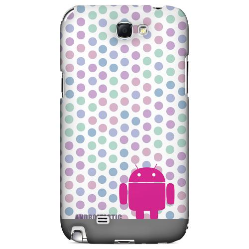 Pink Robot on Pastel Polka Dots Geeks Designer Line Androitastic Series Slim Hard Back Cover for Samsung Galaxy Note 2