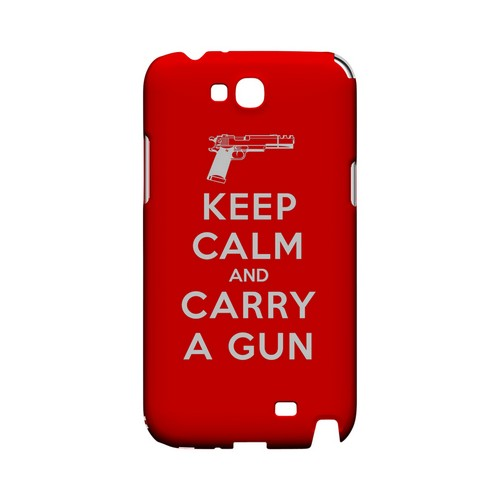 Red Carry A Gun Geeks Designer Line Keep Calm Series Slim Hard Case for Samsung Galaxy Note 2