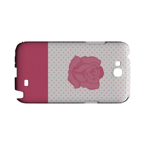 Pink Rose on White Geeks Designer Line Polka Dot Series Slim Hard Case for Samsung Galaxy Note 2