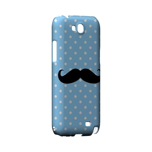 Stache on Sky Blue Geeks Designer Line Polka Dot Series Slim Hard Case for Samsung Galaxy Note 2