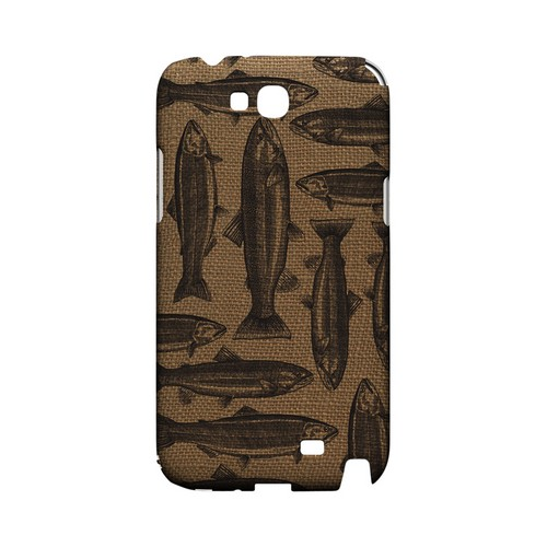 Vintage Salmon & Trout on Burlap - Geeks Designer Line (GDL) Fish Series Hard Back Cover for Samsung Galaxy Note 2