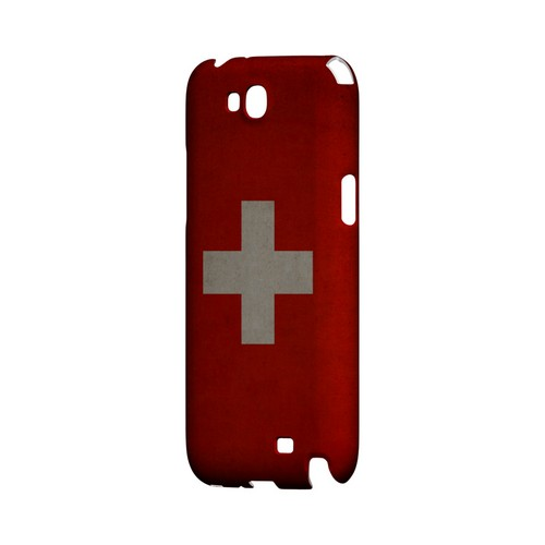 Grunge Switzerland Geeks Designer Line Flag Series Slim Hard Case for Samsung Galaxy Note 2