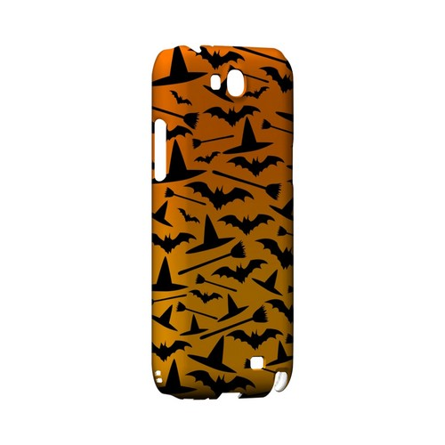 Witch Hat/Broom/Bat on Orange - Geeks Designer Line (GDL) Monster Mash Series Hard Back Cover for Samsung Galaxy Note 2