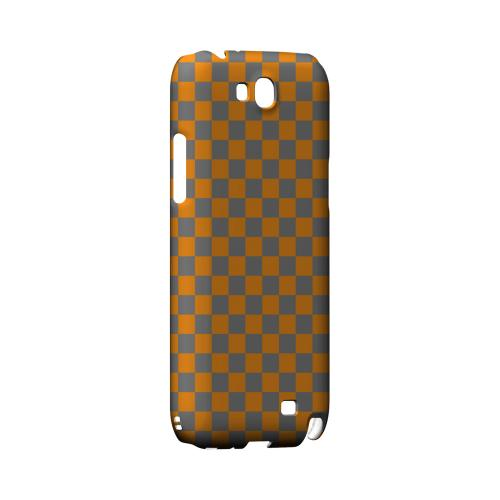 Orange/ Gray - Geeks Designer Line Checker Series Hard Case for Samsung Galaxy Note 2