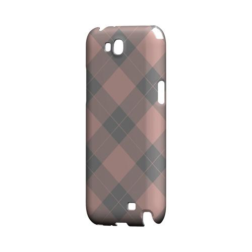 Pink/ Gray Simple Plaid - Geeks Designer Line Checker Series Hard Case for Samsung Galaxy Note 2