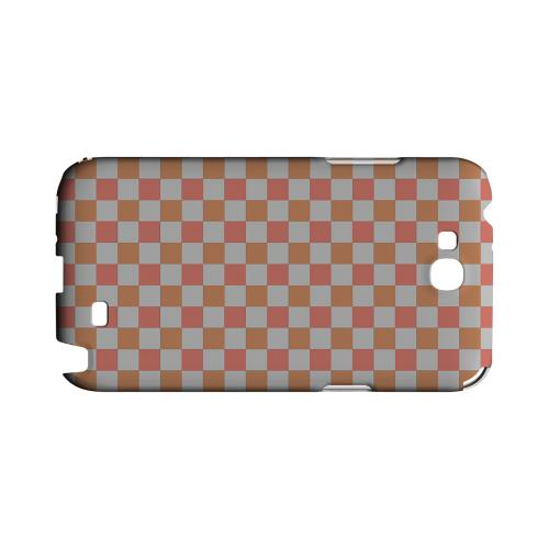 Pink/ Peach - Geeks Designer Line Checker Series Hard Case for Samsung Galaxy Note 2