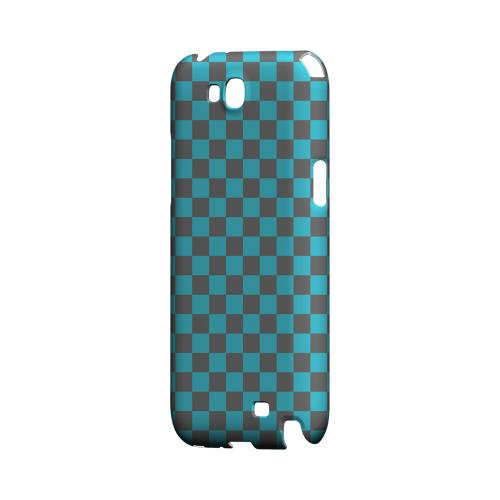 Teal/ Gray - Geeks Designer Line Checker Series Hard Case for Samsung Galaxy Note 2